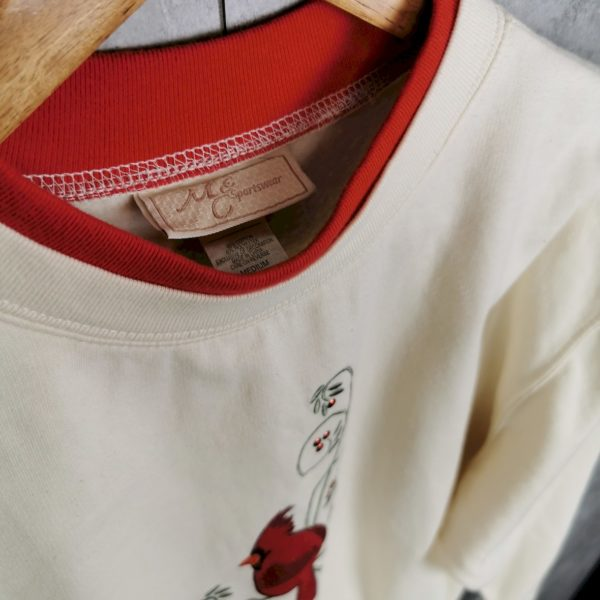 vintage pullover mit extra kragen vogel motiv