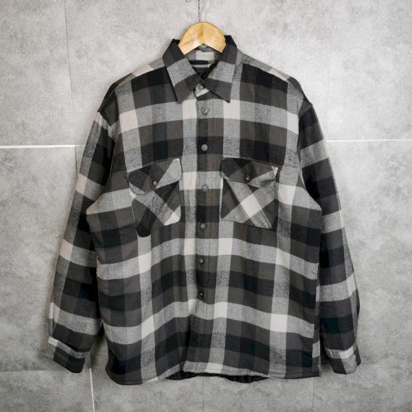90s Vintage Flanellhemd Jacke mit Flutter Grau Unisex XL