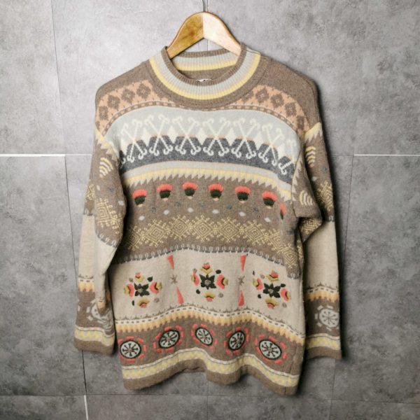 80er Vintage Woll und Strick Pullover M/L