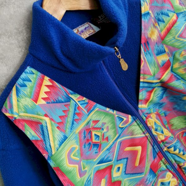 90s Crazy Pattern Fleece Pullover Unisex M