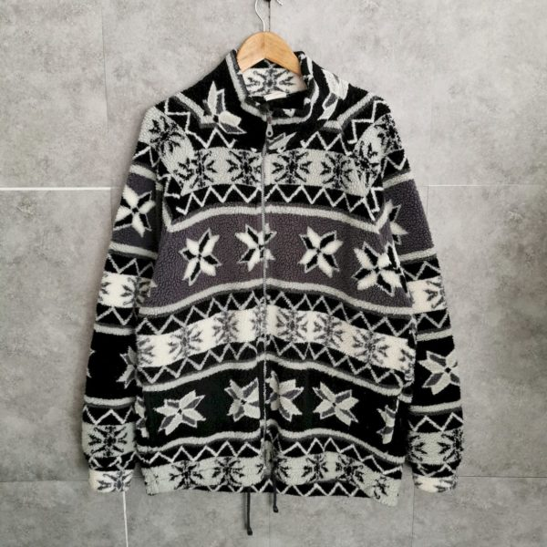 80s Vintage Fleecejacke crazy pattern oversize
