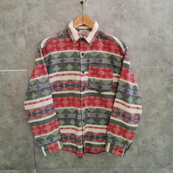 Vintage Ethno Flanell Vintage -Hemd mit Azteken Muster