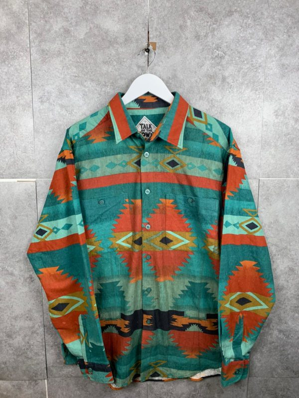Vintage Ethno Flanell Vintagehemd mit Azteken Muster