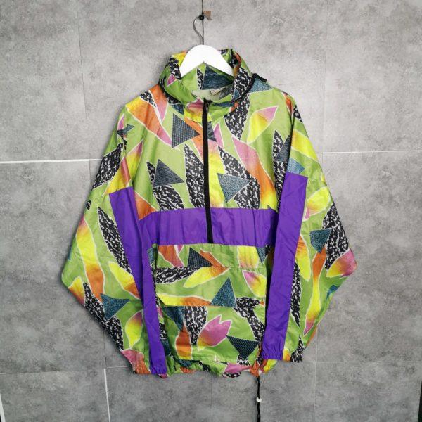80er 90er Regenjacke mit Kapuze