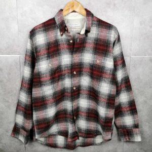 90er Original Flanellhemd Rot Grau Weiß - Kariert Unisex Size M
