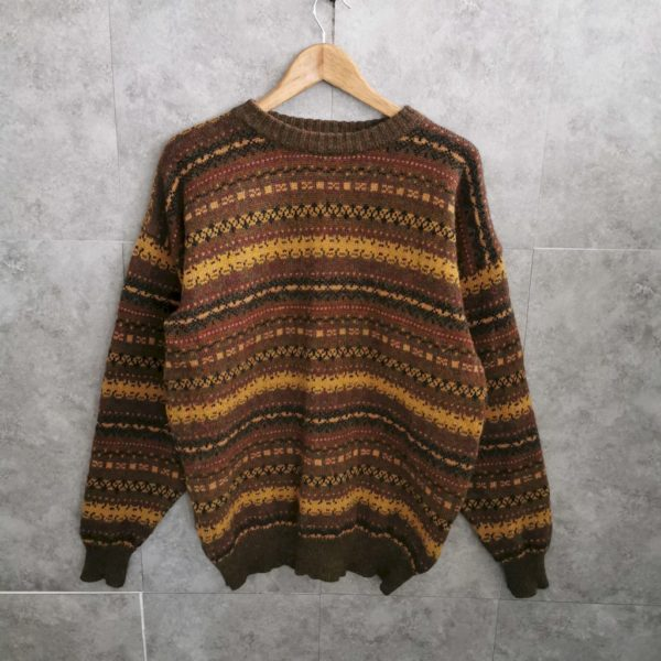 Seltener 80s Knitwear Green Leaves Woolsweater crazy patterned Grungstyles