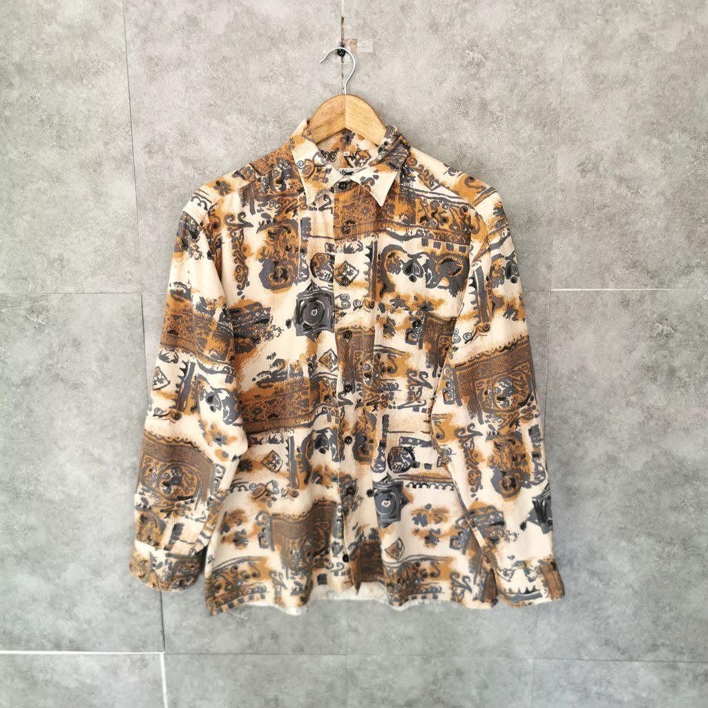 vintage 80er baumwollhemd in beigen barock muster damen m l
