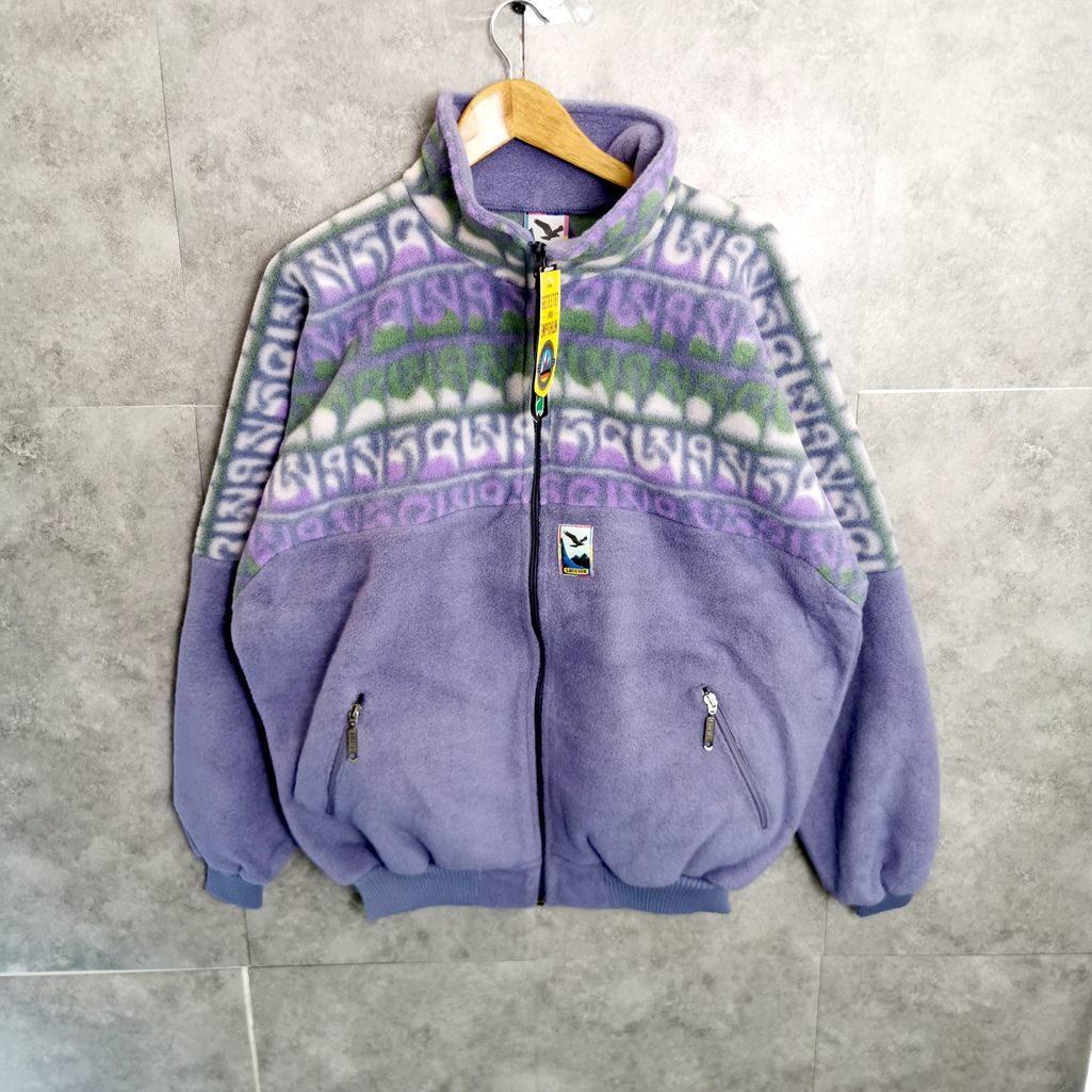 vintage fleece jacke mit reißbverschluß pastell fliederfarben size xl xxl unisex