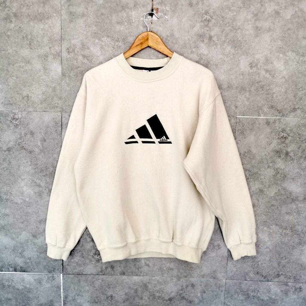 adidas oldschool vintage sweater size s m oversize beige logo gestickt