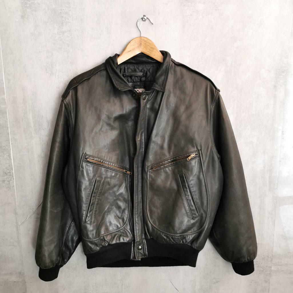 80er 90er Vintage Lederjacke gefüttert