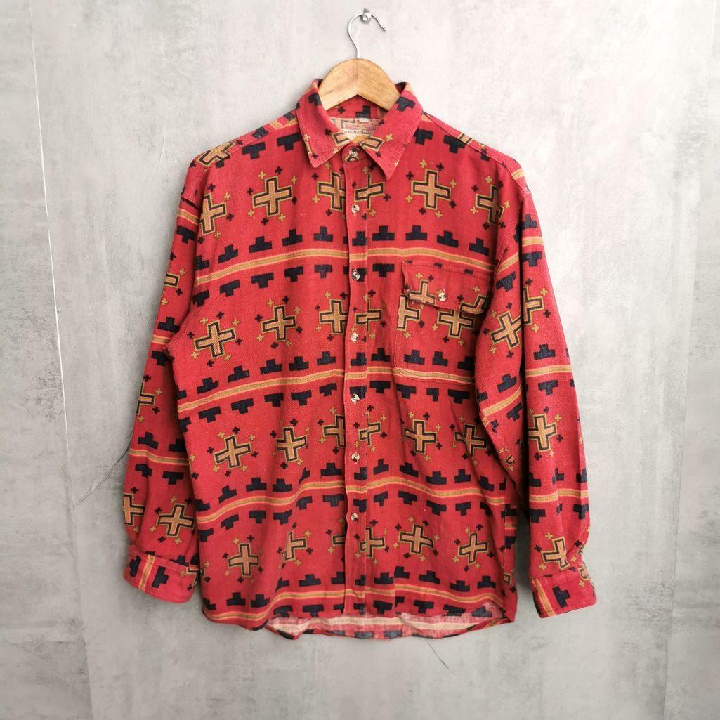 grungelook vintage hemd rot gleb schwarz