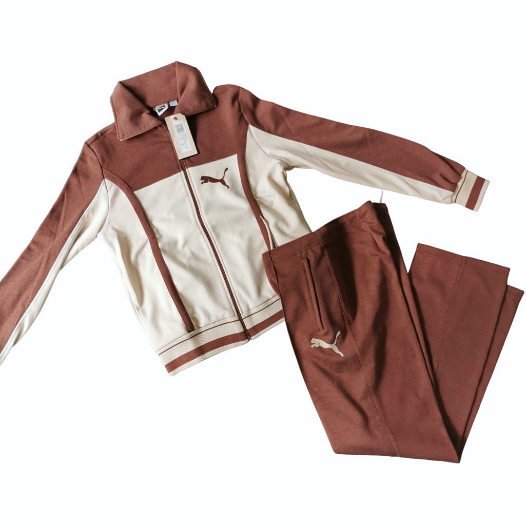 puma 70er jahre trainingsanzug komplett braun beige