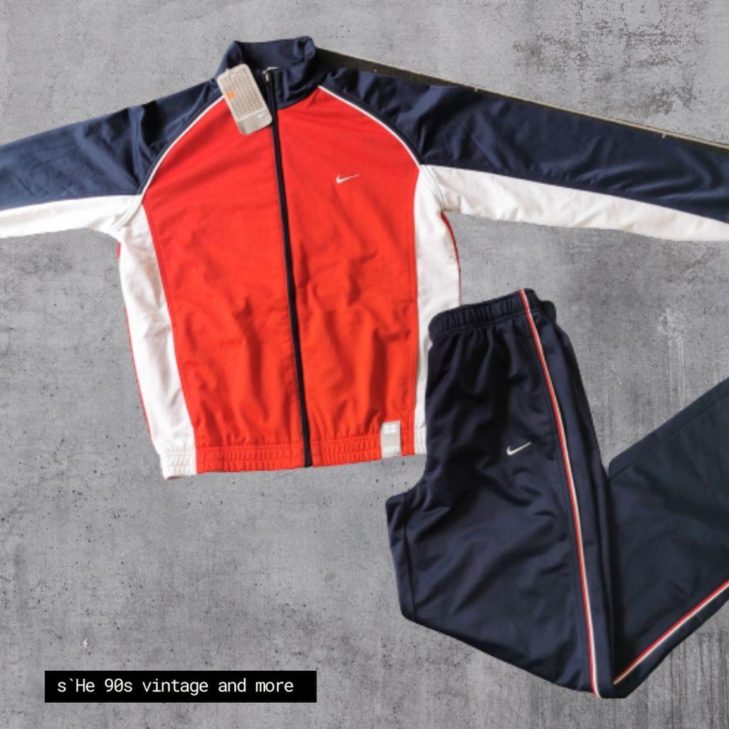 nike 2000er Trainingsanzug blau rot usa size s m