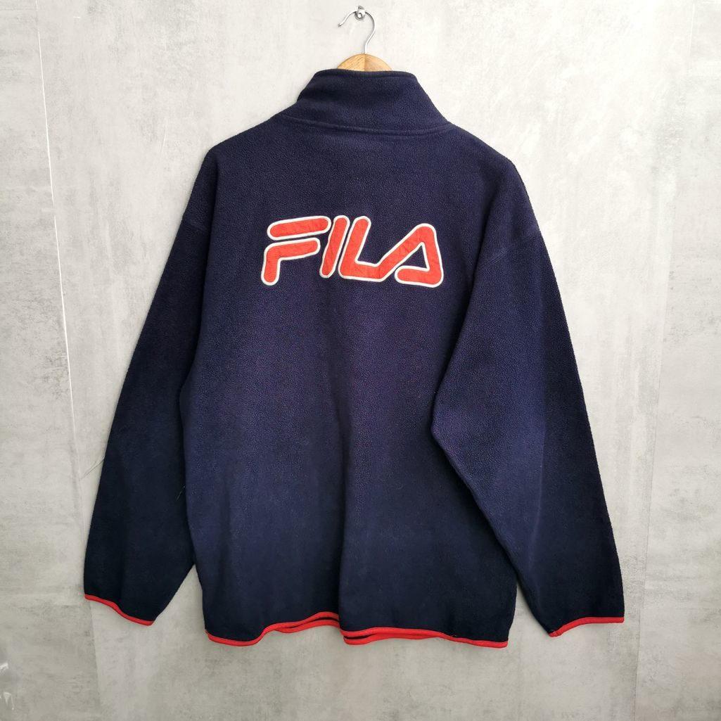 fila fleece vintage zipper jacke blau mit großem roten gestickten Logo