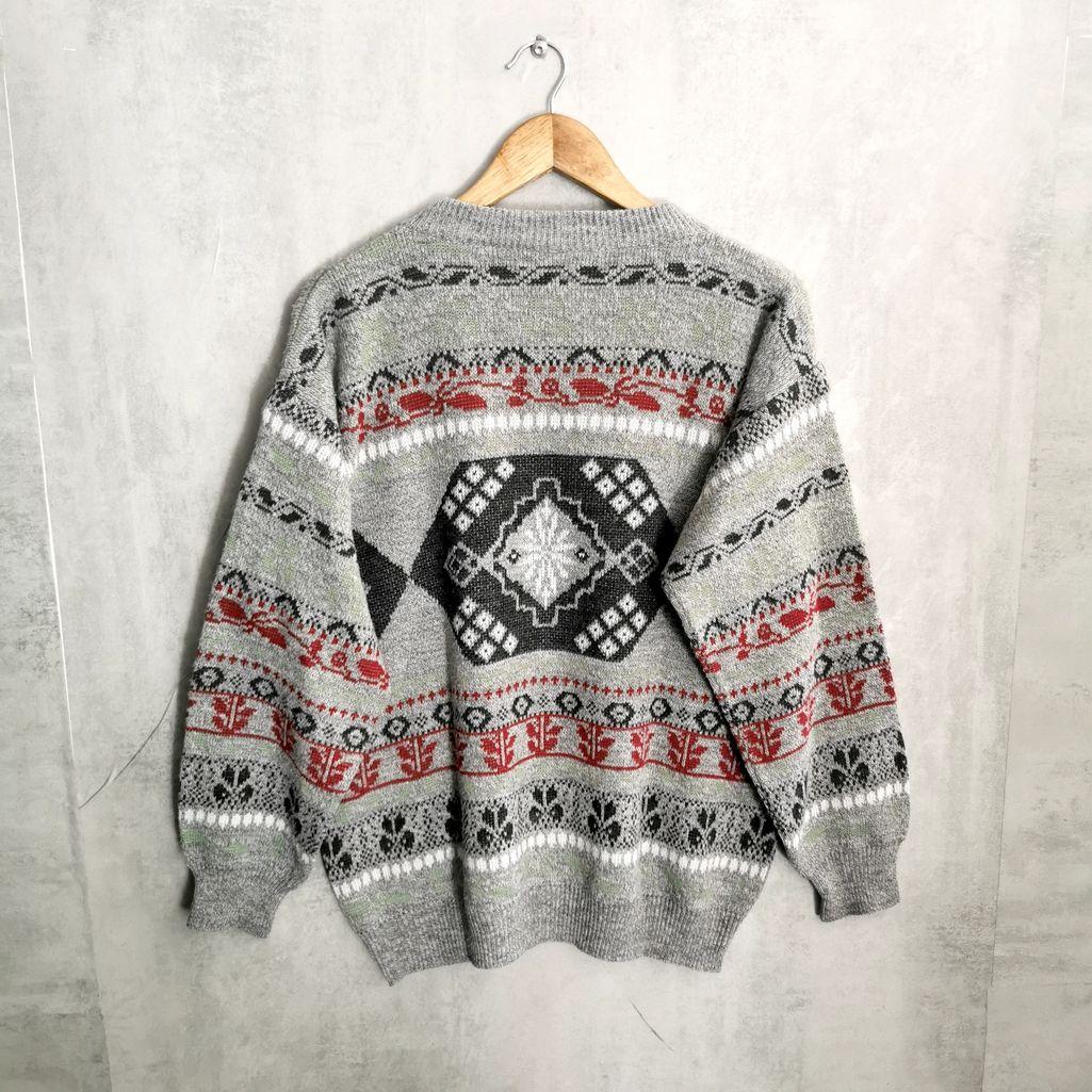 wollpullover 80er kleidung aus wolle grau, weiß rot tolles kniting pattern