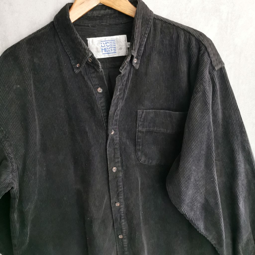 Cord Vintage Kleidung 80er jahre schwarz langgeschnitten