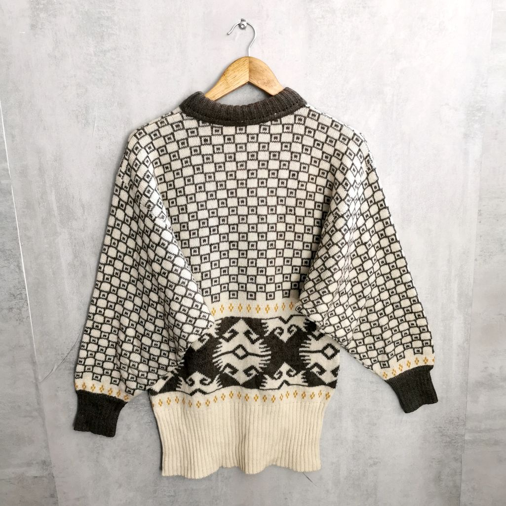 60er 70er Byblos Wollpullover lang / Knitting Wollkkeid Italien Designer Vintage Pullover S/M