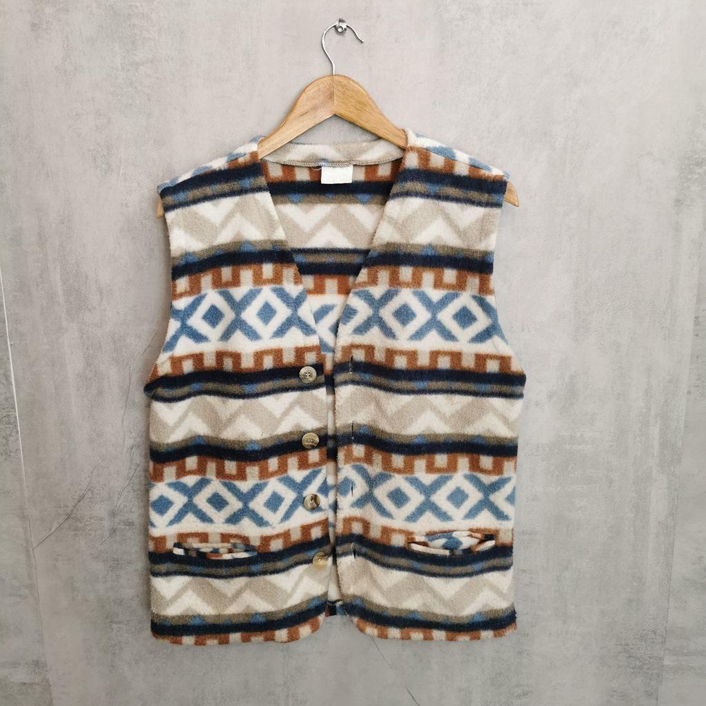 Crazy pattern, ärmelose Fleeceweste. Mit 2 Taschen. Jacke schließbar Knöpfen