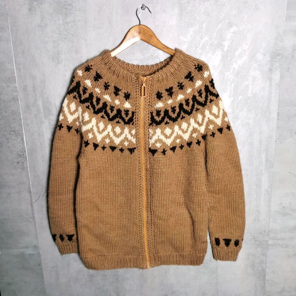 Vintage Strickjacke aus Islandwolle mit Reißverschluss Hand Knit 80s Pullover M/L
