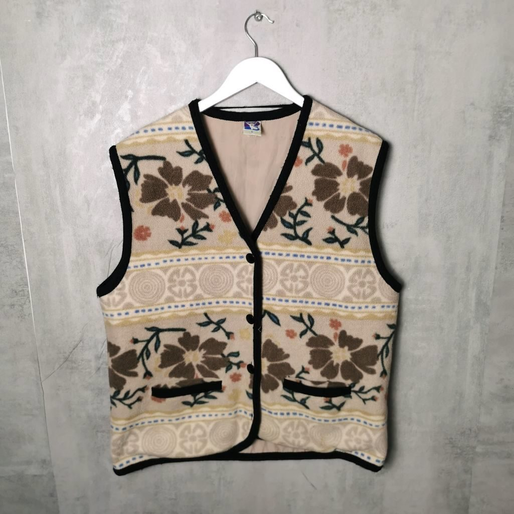 RARE! Fleece Weste Yessica 80s /90s Crazy Pattern Sleeveless fleeces C&A Vintage grungestyles Size M/L