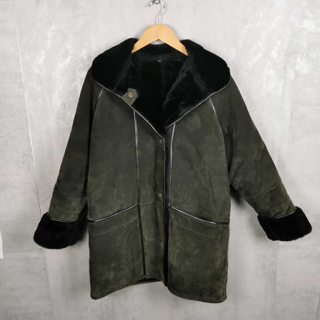 60er/ 70er Damen Leder Vintage Mantel Sherpa Sherling grün L top Zustand