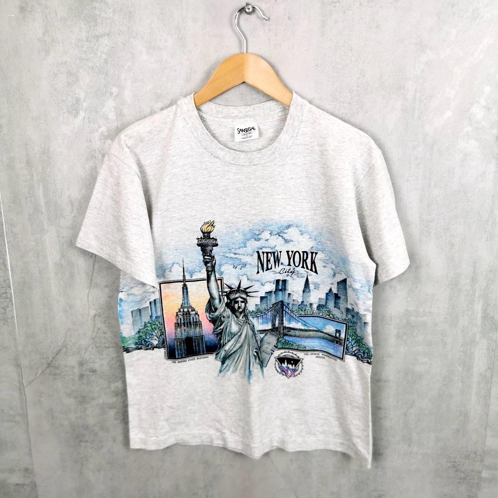 Selten! Sansegal 90er Crewneck T-Shirt USA Vintage tee's big print New York S/M