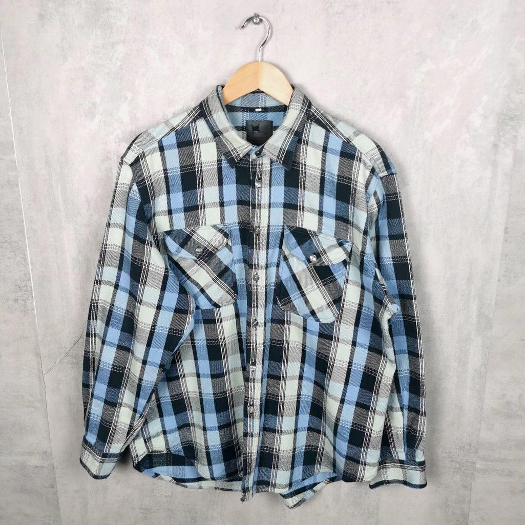 Vintage Cotton Hemd kariert 80er Flannel Shirt Herren L babyblau, mint, grungestyles