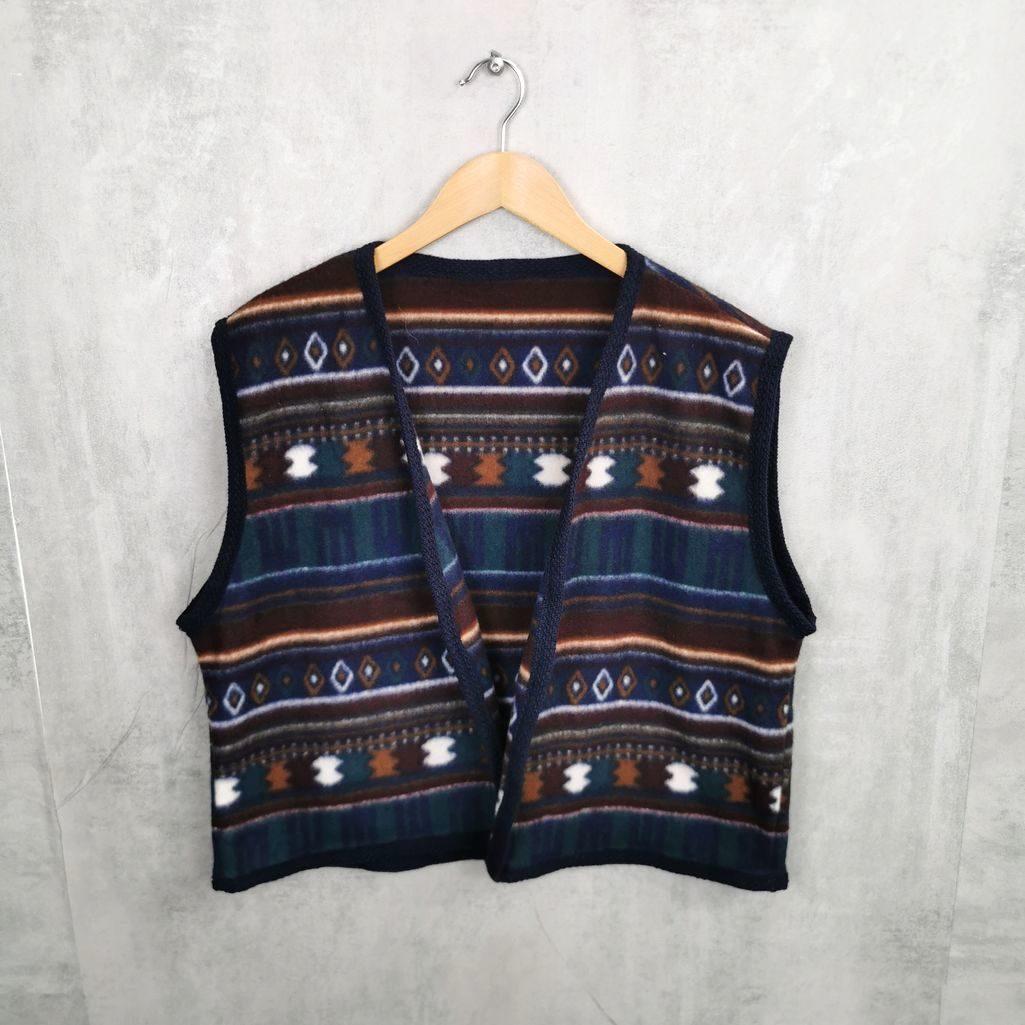 Vintage Fleece Weste im Azteken Design kurzer fit Herren M