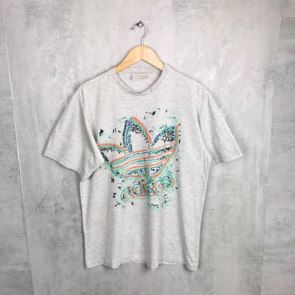 90s Rundhals Adidas Vintage T-Shirt, Cotton Shirts S/M big Trefoil Logo