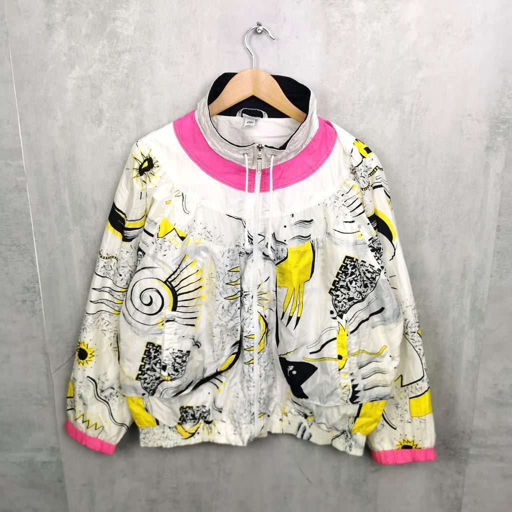 Rare! Vintage Women Blouson Jacke, 80er Crazy Pattern Print Jacke, Full Zipper Nylon Shell Damen Jacke bunt L/XL Sommerjacke