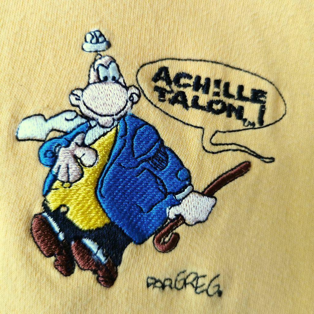 Rare! Achille Talon 2000er Frankreich Vintage Polo Sweatshirt Langarm mit Kragen