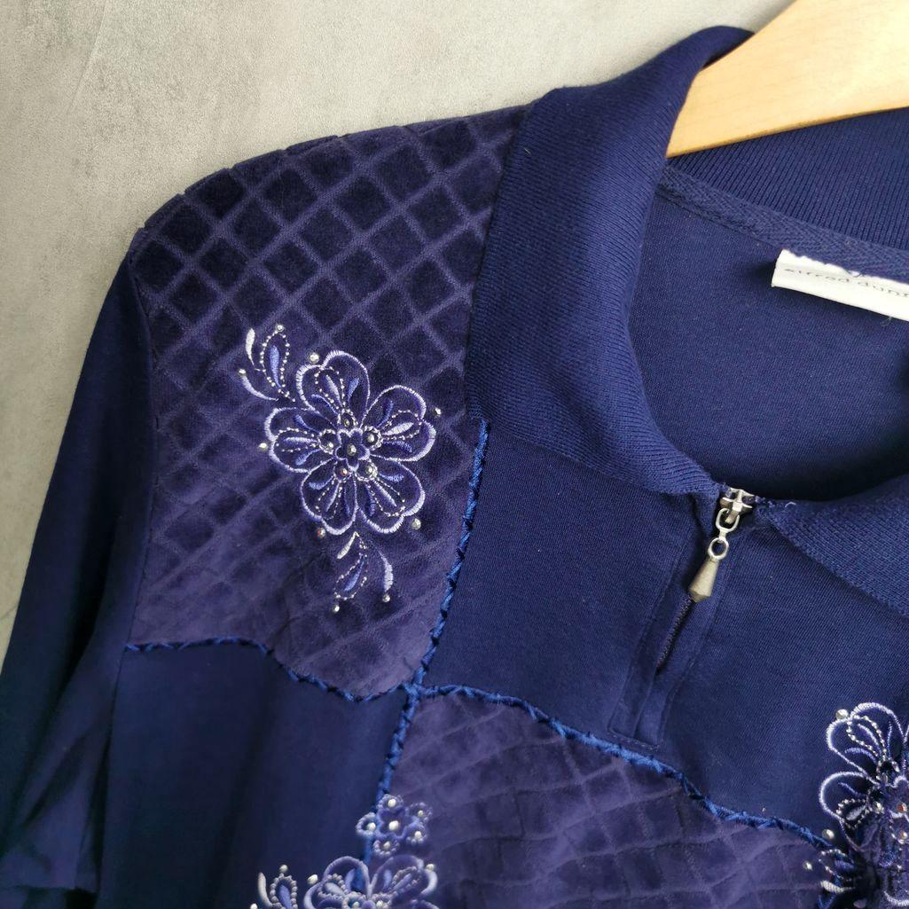 Rare! Alferd Dunner 80er Vintage Polo Sweater mit Strasssteinen, Frauen Nickie Pullover Xl