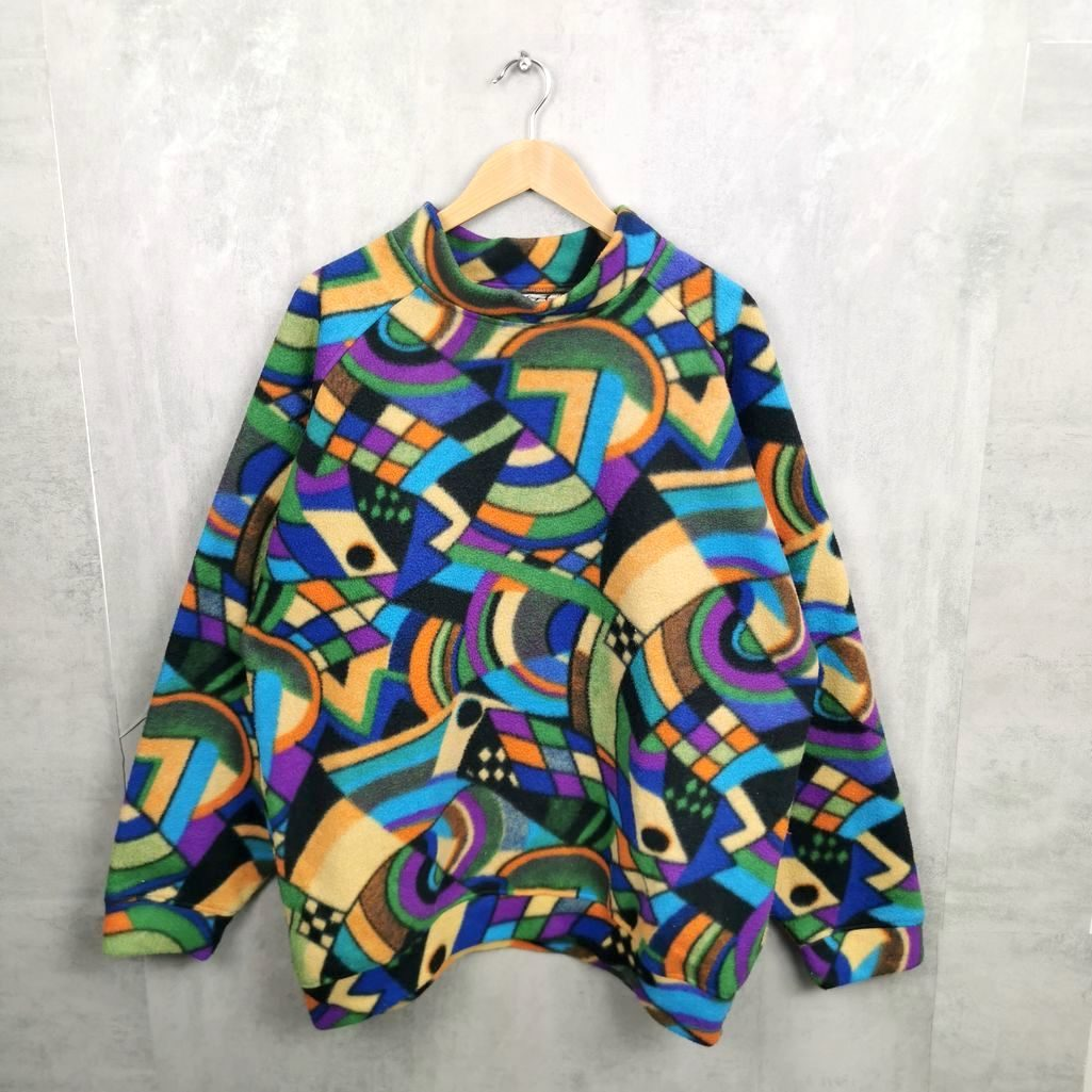 Rare! Übergroßer Two Faces 80s 90s Fleece Troyer, bunter Fleece Sweater mit Kragen Xl/XXL