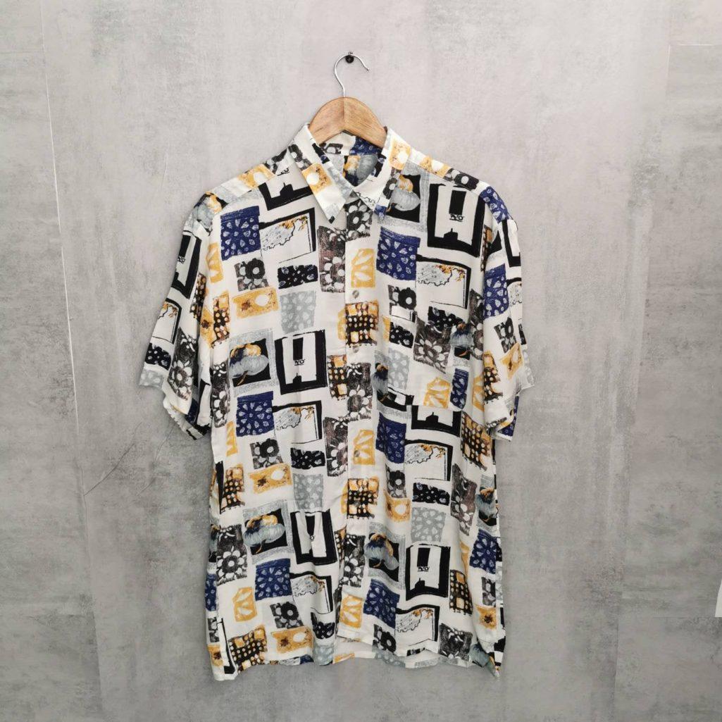 80/90er Jahre Pattern Shirt / Abstrakt Vintage Viskose Hemd Size M/L neuwertig tall