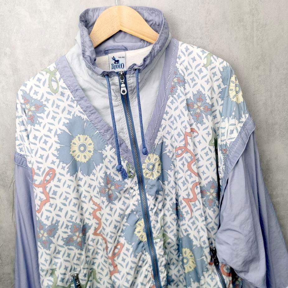 Frauen 80er Oldschool Windbreaker Jacke von Rodeo C&A Vintage, mit leichter Fütterung pastellfarben