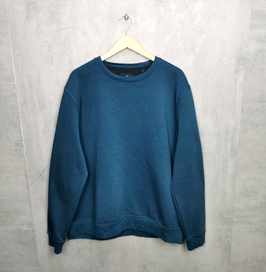 Rare! Einfarbiger Herren Vintage Sweater, Herren XXL türkis neuwertig