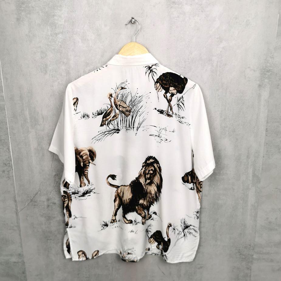 Leichte Damen Vintage Hemd mit kurzen Arm, African Animals all over Print Gr. 44