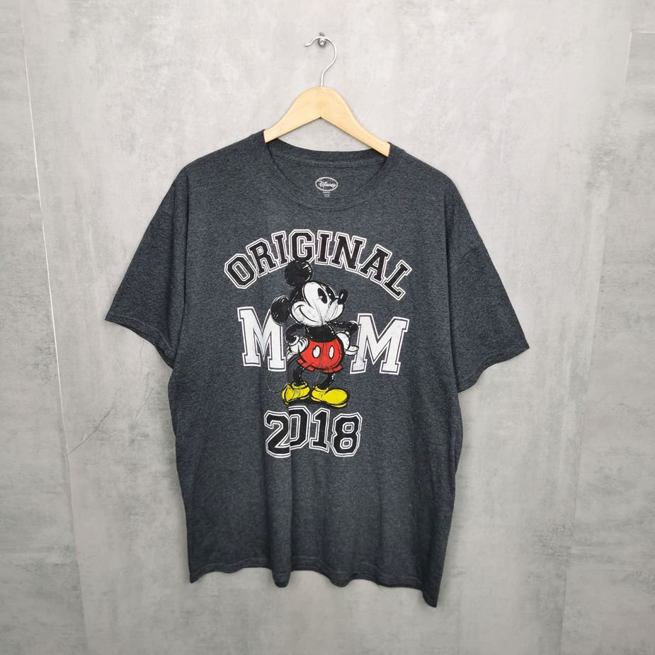 Rare! Original Disney Mickey Maus T-Shirt, big print Shirts dunkelgrau XL