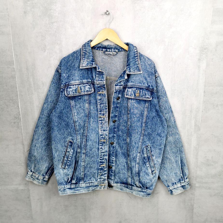 Rare! Herren 80er Jahre Acid Wash Jeans Jacke, Vintage Denim Jacke gebleicht L