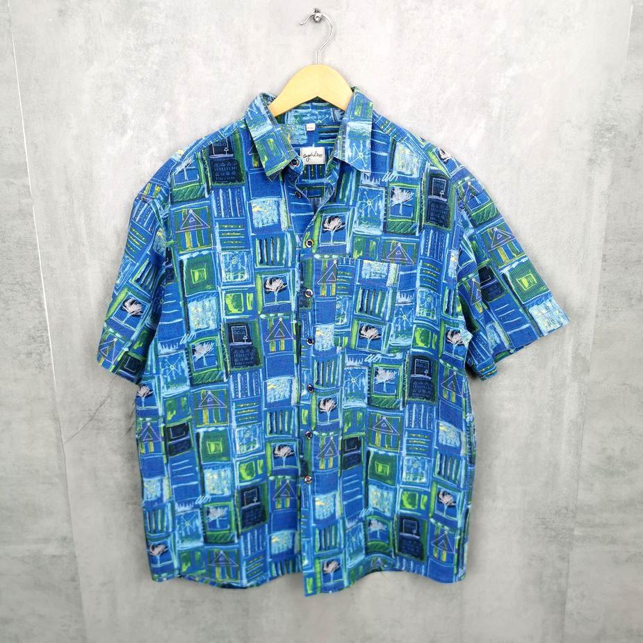 Angelo Litrico Herren Vintage Leinen Baumwolle Hemd, 80s 90s Hemd all over pattern Shirts kastenförmig L
