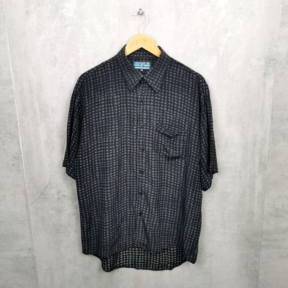 Kantaros Herren Vintage Hemd, 80s 90s all over pattern, schwarz, grau M