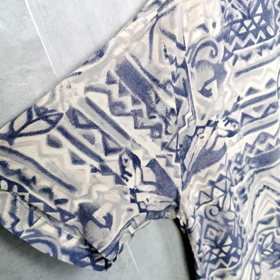 bedrucktes vintage hemd beige blau herren patternd groesse xxl
