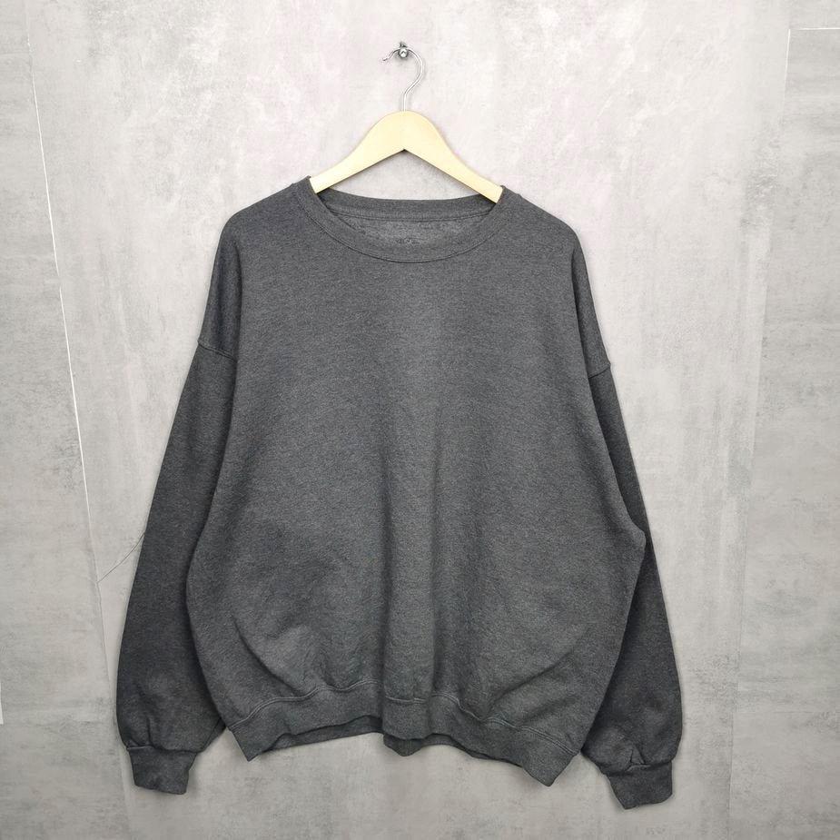 grauer herren oversize vintage pullover , einfarbig grau groesse xxl