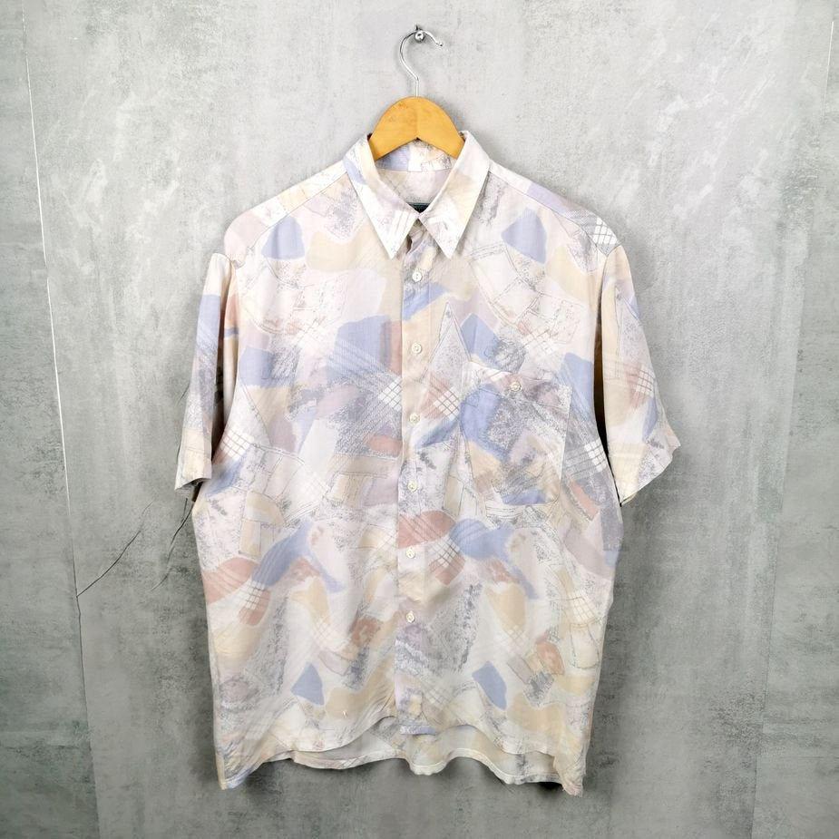 Abstraktes Caiun 80/90er Herren Hemd, Vintage Viskose Hemd Größe L, pastell