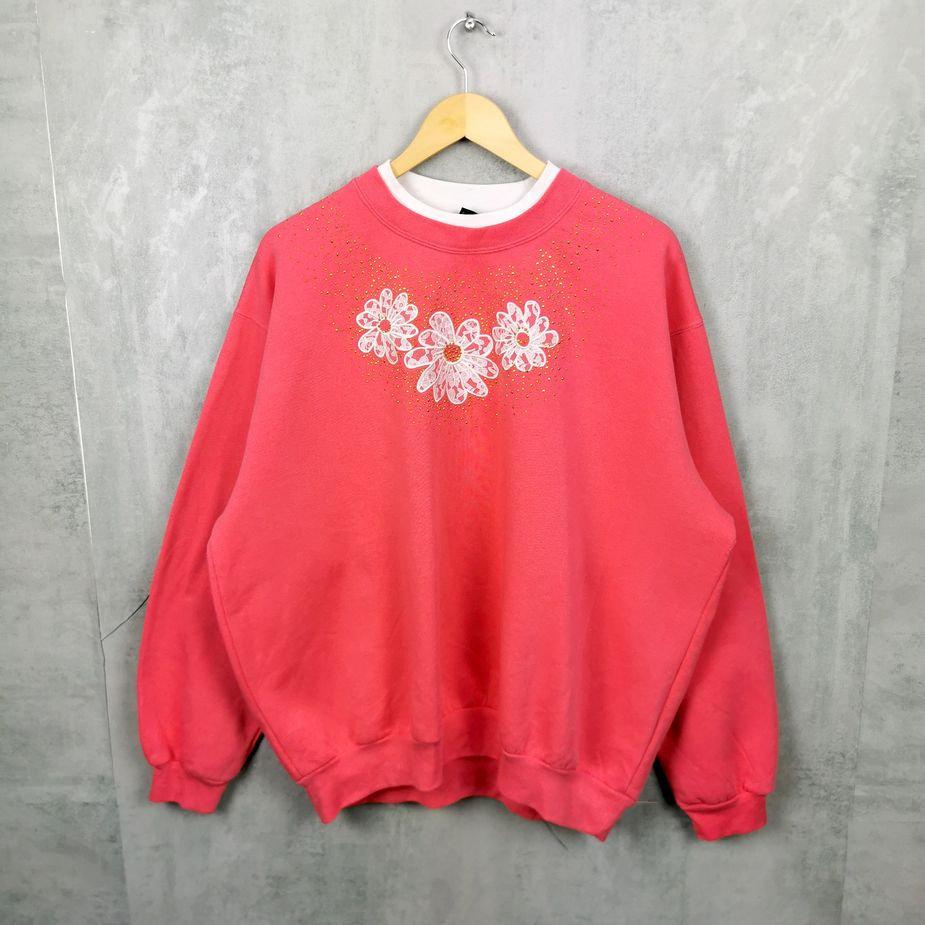 Rare! Oversized Morning Sun Vintage Sweater, USA Crewneck, Strass und Blumen, rosa 2Xl