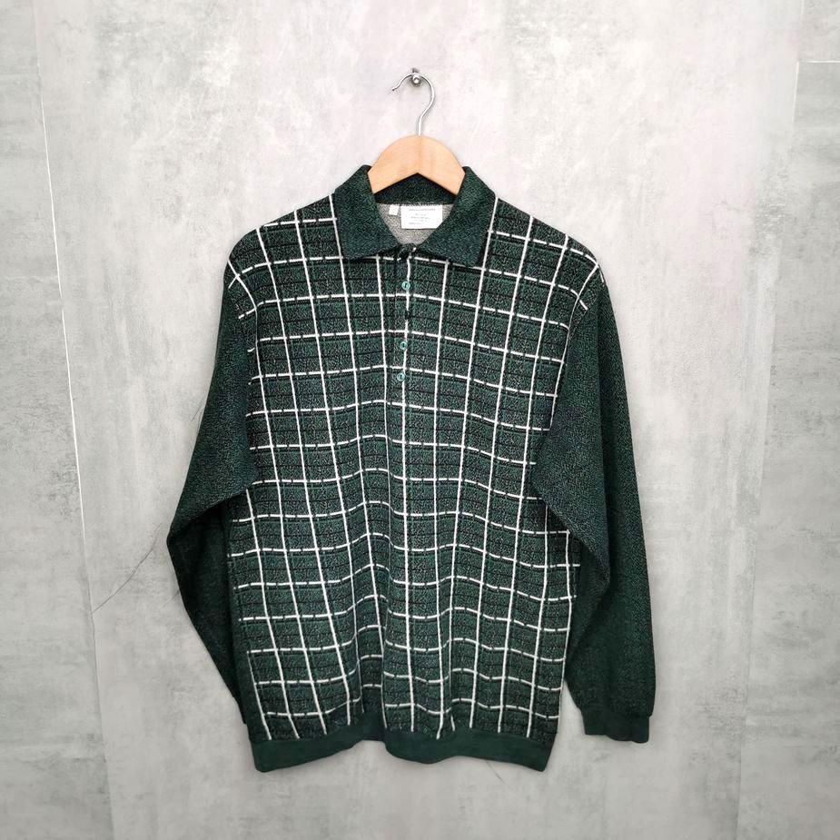 Karo Vintage Polo Sweater, 80s/90s Pullover Herren M