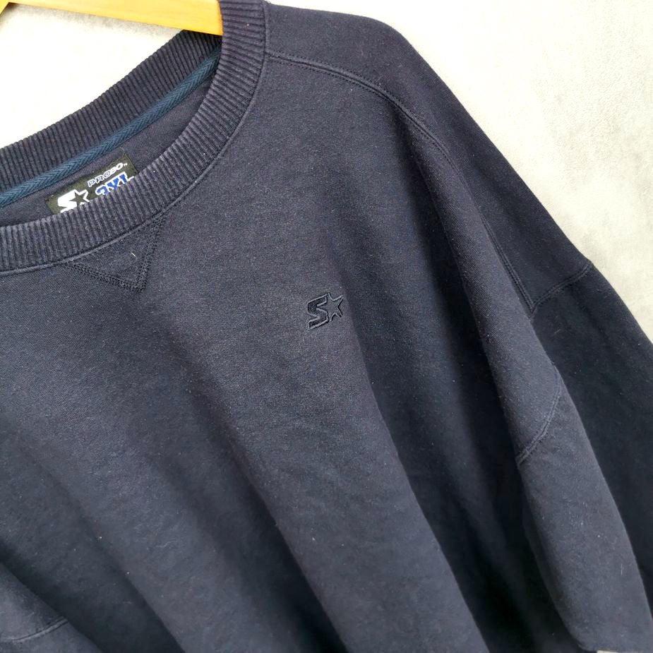 vintage sweater starter herren groesse 3xl blau uni