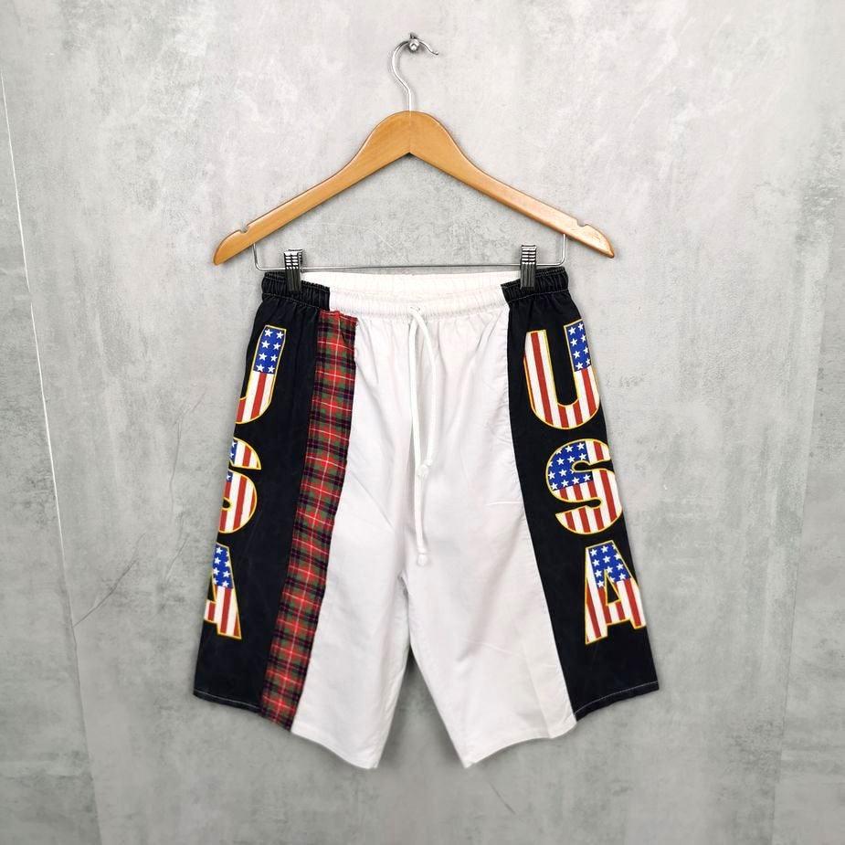 längere vintage badeshorts herren mit seitlichen usa print groesse m