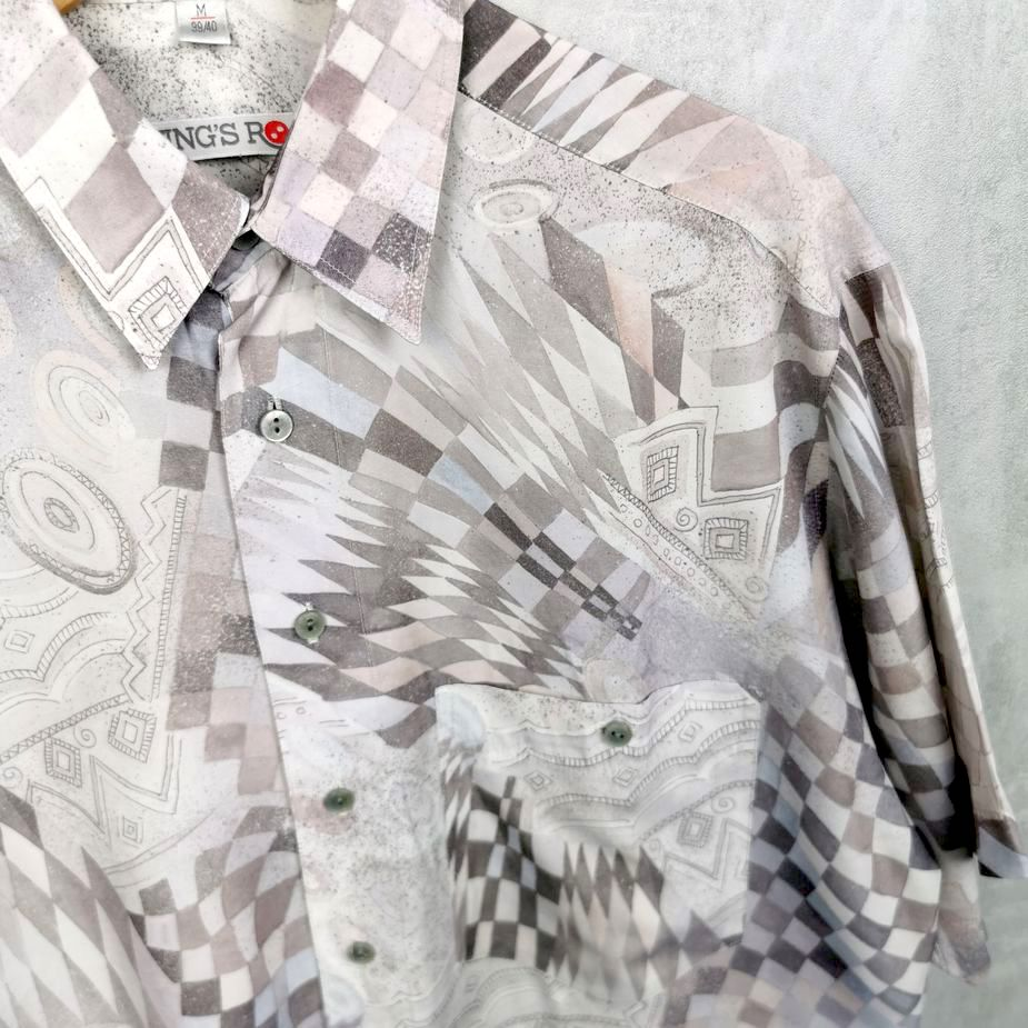 kings road herren vintage hemd hippie shirt all over pattern groessee m tall pastell