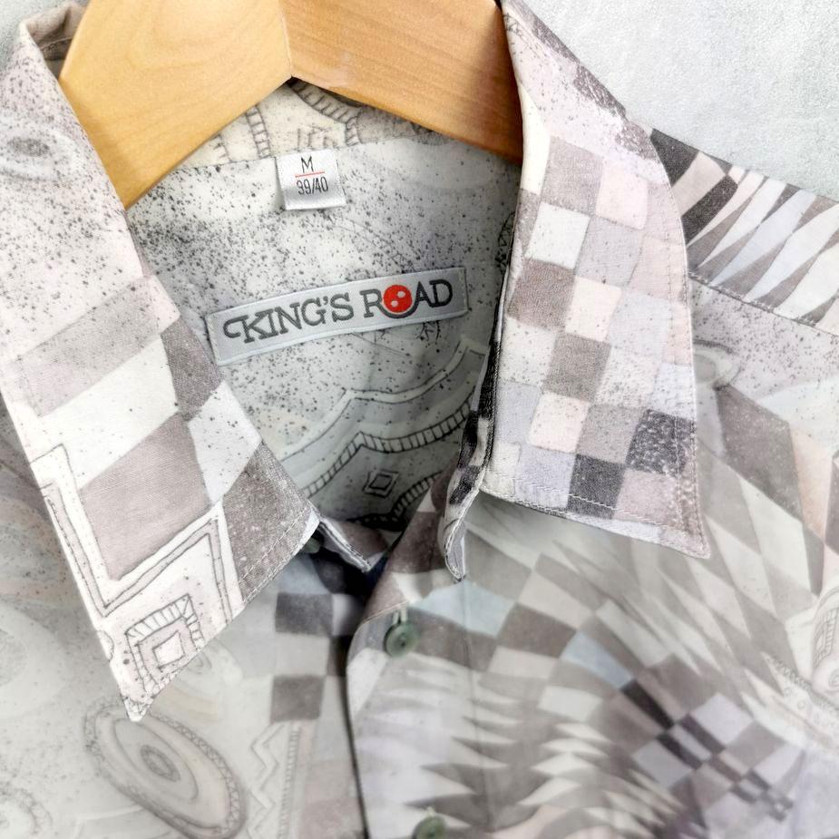 kings road herren vintage hemd hippie shirt all over pattern groessee m tall pastell